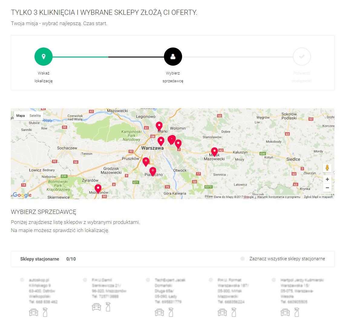 wyszukiwarka punktów, sklepów, które sprzedają produkty K2